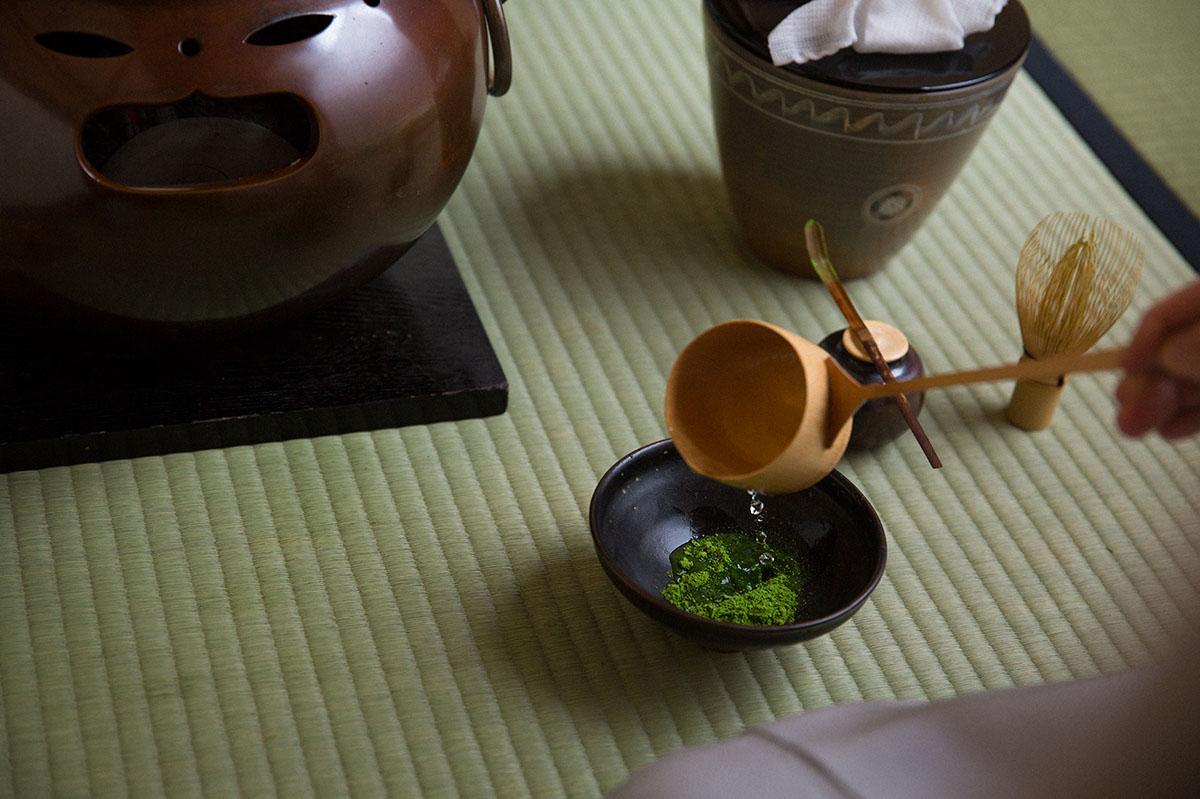 小堀遠州流の濃茶の点前で抹茶を点てる